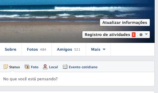Clique em registro de atividades no seu perfil do Facebook  (Foto: Reprodução)