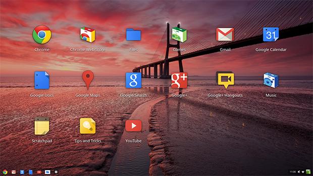 Área de trabalho do Chrome OS (Foto: João Paulo Carrara)