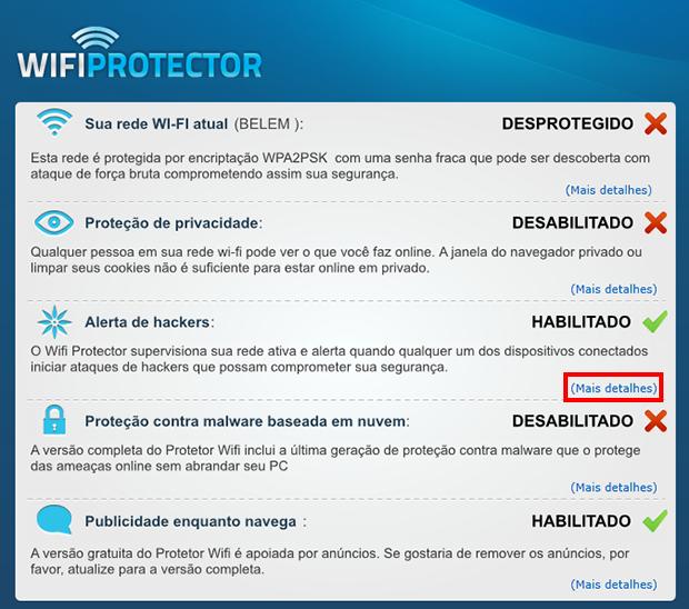 Expanda a opção Alerta de hackers (Foto: Reprodução / Paulo Alves)