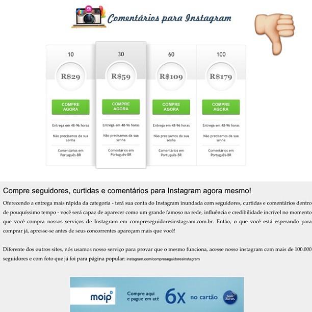 Sites oferecem a compra de curtidas e seguidores no Instagram (Foto: Reprodução)