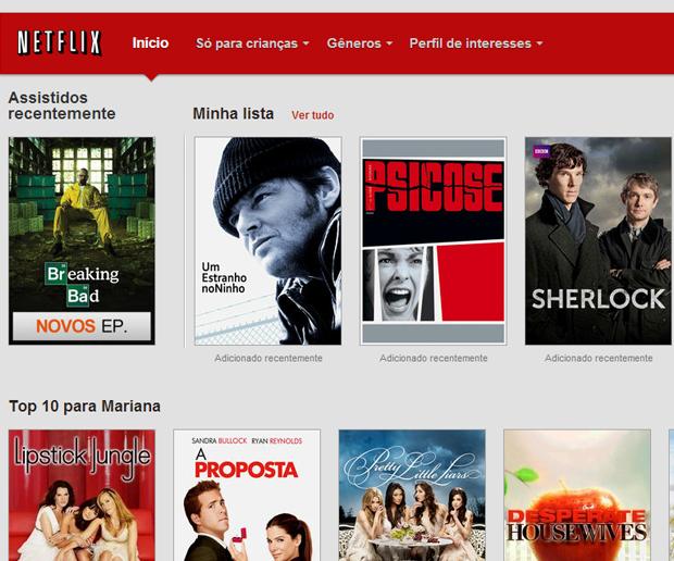'Minha Lista' no menu principal do Netflix (Foto: Reprodução)