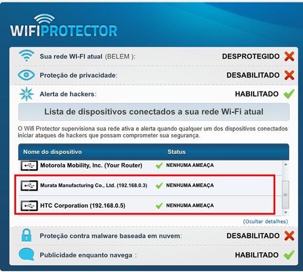 O programa mostra quando outros conectam à sua rede, e você ver se os reconhece (Foto: Reprodução / Paulo Alves)