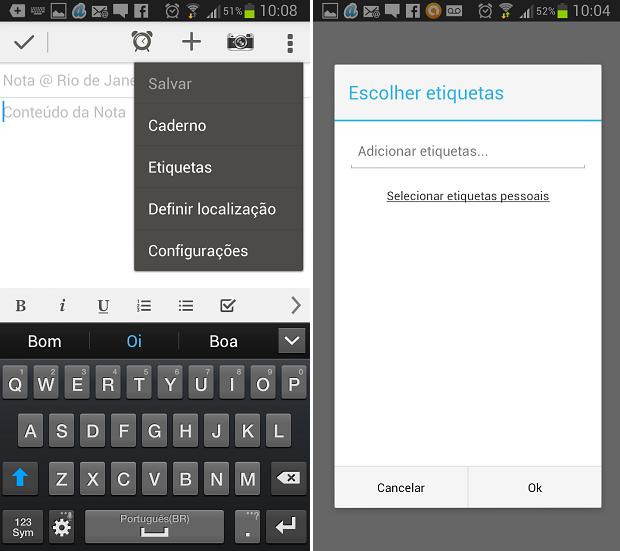 Também é possível categorizar notas por tags nos celulares (Foto: Reprodução/Aline Jesus)