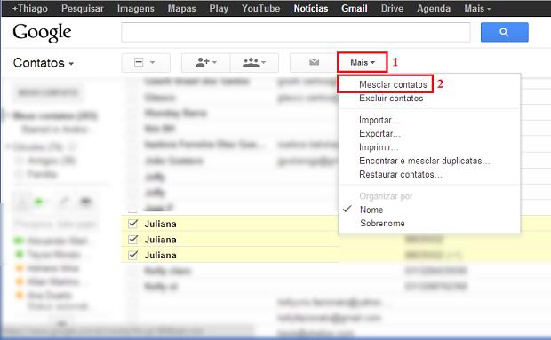 """No botão """"Mais"""", clique em """"Mesclar contatos"""" (Foto: Reprodução/Thiago Bittencourt) (Foto: No botão """"Mais"""", clique em """"Mesclar contatos"""" (Foto: Reprodução/Thiago Bittencourt))"""