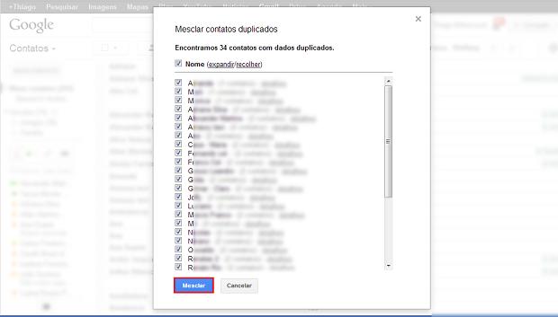 """Clique no botão """"Mesclar"""" para unificar os contatos repetidos (Foto: Reprodução/Thiago Bittencourt) (Foto: Clique no botão """"Mesclar"""" para unificar os contatos repetidos (Foto: Reprodução/Thiago Bittencourt))"""