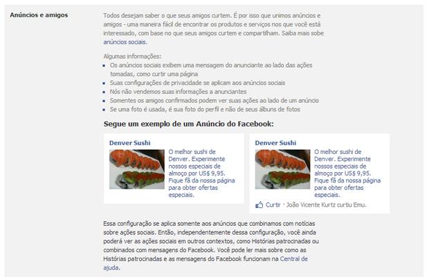Facebook pode usar fotos do perfil do usuário em publicidade (Foto: Reprodução/João Kurtz)
