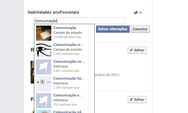 Facebook permite incluir habilidades profissionais em perfis (Foto: Reprodução)
