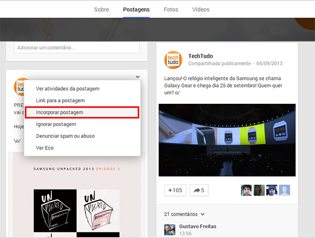 Usuários podem incorporar posts do Google+ em sites ou blogs (Foto: Reprodução/Google+)
