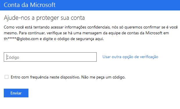 Código de segurança será enviado via e-mail (Foto: Reprodução/Thiago Barros)