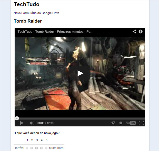 Vídeos nos Formulários podem ser úteis para fazer enquetes sobre o conteúdo (Foto: Reprodução/Paulo Alves)