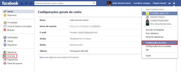 Como desabilitar a publicidade social do Facebook (foto: Reprodução/João Kurtz)