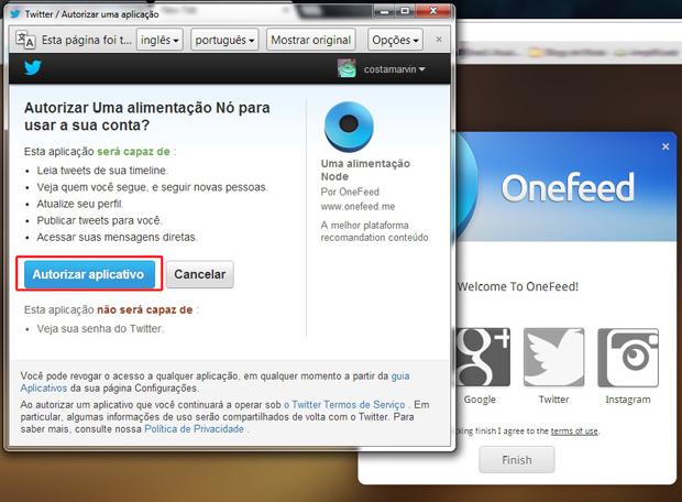 Autorizando o acesso do OneFeed ao Twitter (Foto: Reprodução/Marvin Costa)