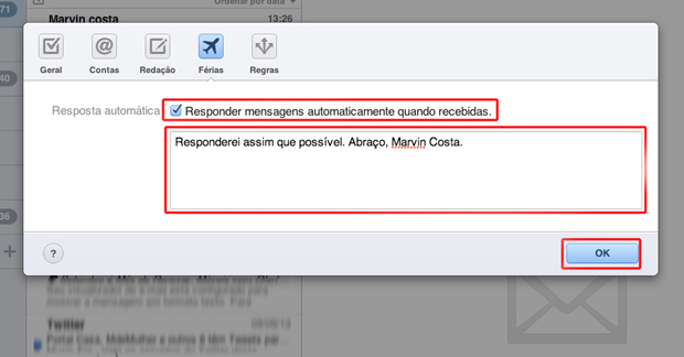 Definindo uma mensagem automática no iCloud (Foto: Reprodução/Marvin Costa)