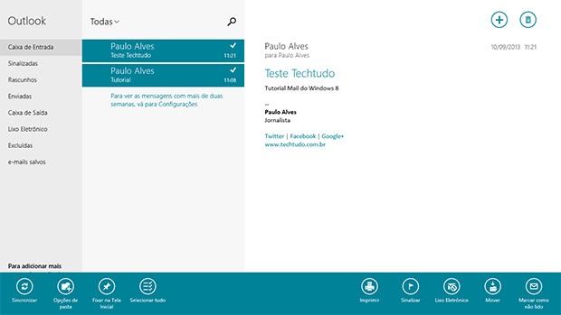 Selecione várias mensagens indesejadas usando o botão direito do mouse no aplicativo Email do Windows 8 (Foto: Reprodução)