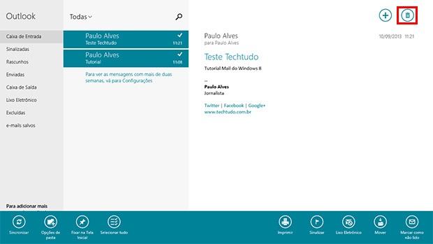 Clique no ícone de lixeira para excluir um e-mail no Email do Windows 8 (Foto: Reprodução)