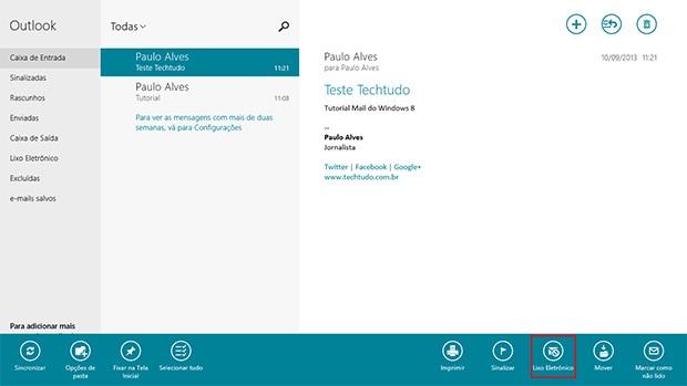 Para mover um e-mail para o Lixo Eletrônico, escolha a opção no menu do Email no Windows 8 (Foto: Reprodução)