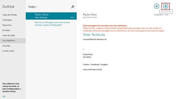 Se recebeu um spam, exclua em definitivo usando o botão com ícone de lixeira (Foto: Reprodução)