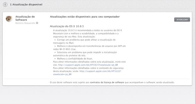 Apple libera atualização do Mac OS X Mountain Lion para corrigir problemas (Foto: Reprodução/Marvin Costa)