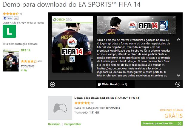 Fifa 14 Demo já está no Xbox (Foto: Reprodução/Thiago Barros)