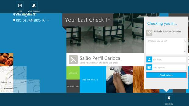 Fazendo check-in no Foursquare para Windows (foto: Reprodução/João Kurtz)