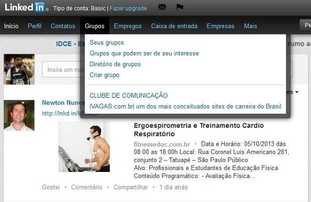 Aba de grupos está disponível no menu (Foto: Reprodução/Thiago Barros)