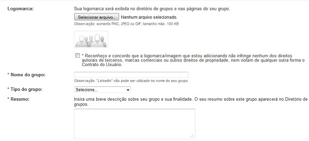 Coloque as informações do grupo nesta tela (Foto: Reprodução/Thiago Barros)