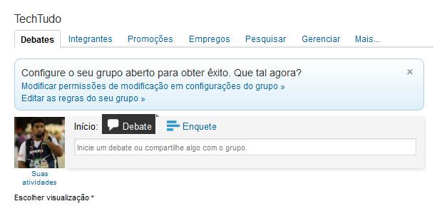 Pronto! Grupo foi criado com sucesso! (Foto: Reprodução/Thiago Barros)