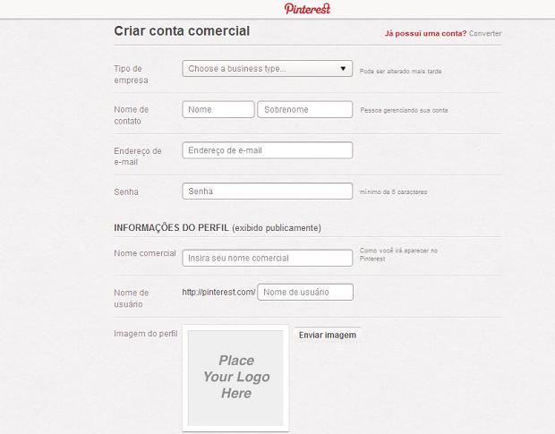Tela para preencher dados do perfil da empresa no Pinterest (Foto: Aline Jesus/Reprodução)