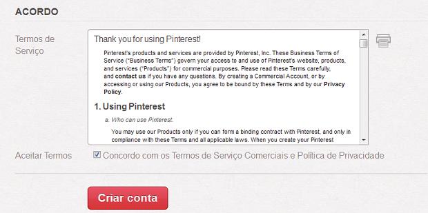 Termo de acordo para criar perfil comercial no Pinterest (Foto: Aline Jesus/Reprodução)