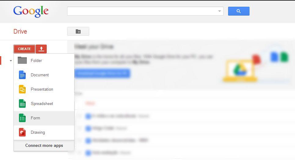 Criando um formulário (Foto: Reprodução/ Google)