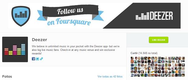 Deezer tem página no Foursquare (Foto: Divulgação)