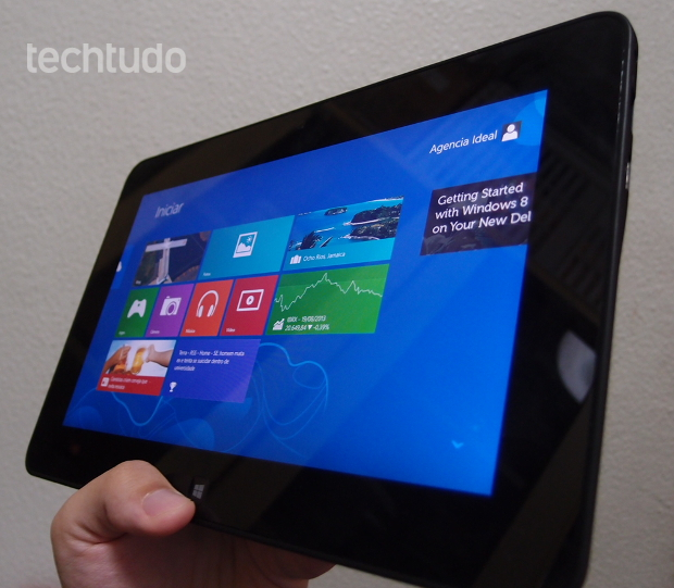 A tela inicial do Dell Latitude 10 não é diferente de qualquer computador com Windows 8 (Foto: Pedro Zambarda/TechTudo) (Foto: A tela inicial do Dell Latitude 10 não é diferente de qualquer computador com Windows 8 (Foto: Pedro Zambarda/TechTudo))