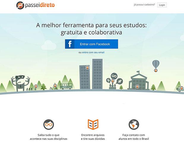 A tela inicial do Passei Direto mostra as opções de cadastro tradicional e login via Facebook (Foto: Reprodução/Karla Soares)