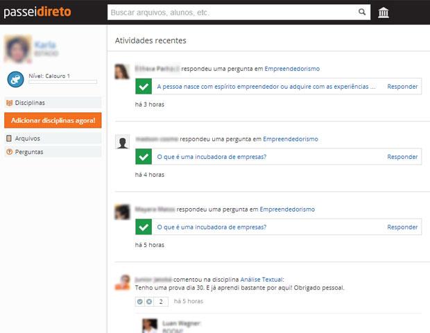 A página principal traz conteúdo de usuários que podem interessar ao aluno e mostra a interação entre eles (Foto: Reprodução/Karla Soares)