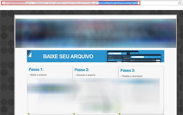 Outras vezes, o link também pode estar invertido no meio do endereço do protetor de links. (Foto: Reprodução/ Paulo Alves)