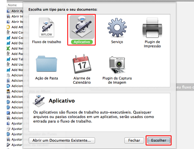 Criando um fluxo de trabalho de aplicativo no Automator do Mac OS (Foto: Reprodução/Marvin Costa)