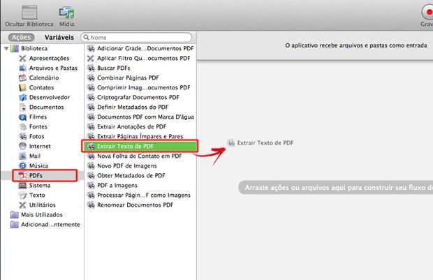 Definindo um fluxo de trabalho para arquivos PDF no Automator do Mac OS (Foto: Reprodução/Marvin Costa)
