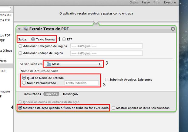 Definindo as configuração de extração de texto em arquivos PDF no Automator do Mac OS (Foto: Reprodução/Marvin Costa)