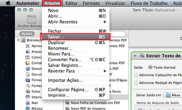 Salvando a extração de texto de arquivos PDF no Automator do Mac OS (Foto: Reprodução/Marvin Costa)