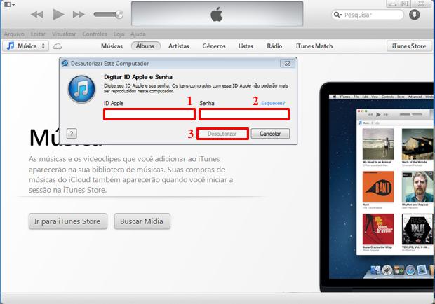 """Após informar sua Apple ID e senha, clique no botão """"Desautorizar"""" (Foto: Reprodução/Thiago Bittencourt)"""