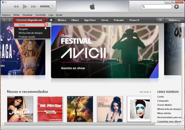 No botão que possui a sua Apple Id, acesse a opção conta (Foto: Reprodução/Thiago Bittencourt)