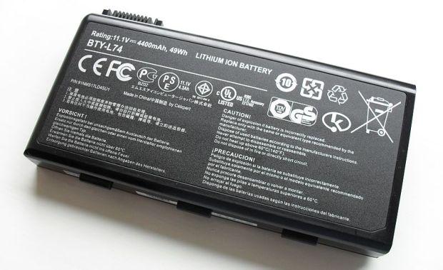 Bateria de íon-lítio para notebooks (Foto: Wikimedia Commons)
