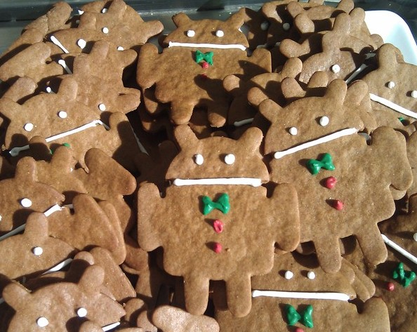 Biscoitos (cookies) no formato do Android GingerBread, do Google (Foto: Reprodução/Wired)