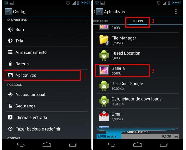 """Na seção """"Aplicativos"""" do menu de configuração inicial, acesse o aplicativo Galeria (Foto: Reprodução/Thiago Bittencourt)"""