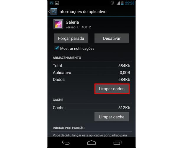 """Ao acessar as informações do app Galeria, toque em """"Limpar dados"""" (Foto: Reprodução/Thiago Bittencourt)"""