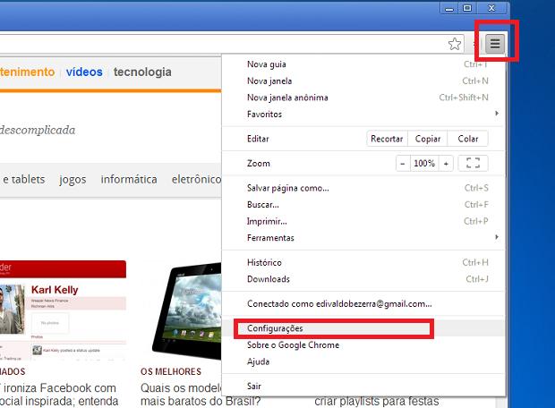 """Acessando as """"Configurações do Chrome (Foto: Reprodução/Edivaldo Brito)"""