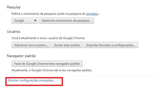 """Acessando as """"Configurações avançadas"""" do Chrome (Foto: Reprodução/Edivaldo Brito)"""