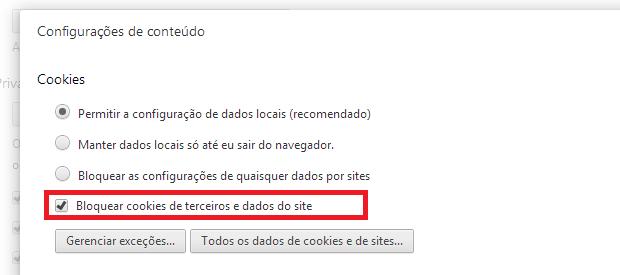 Bloqueando os cookies de terceiros no Chrome (Foto: Reprodução/Edivaldo Brito)