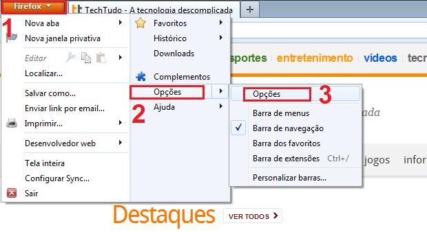 """Acessando as """"Opções"""" do Firefox (Foto: Reprodução/Edivaldo Brito)"""