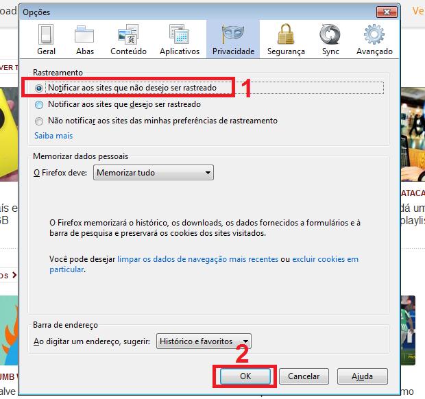 """Ativando o recurso """"Não-rastrear"""" no Firefox (Foto: Reprodução/Edivaldo Brito)"""